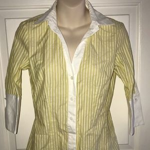 NEW W by Worth New York Yellow Stripe Blouse Shirt